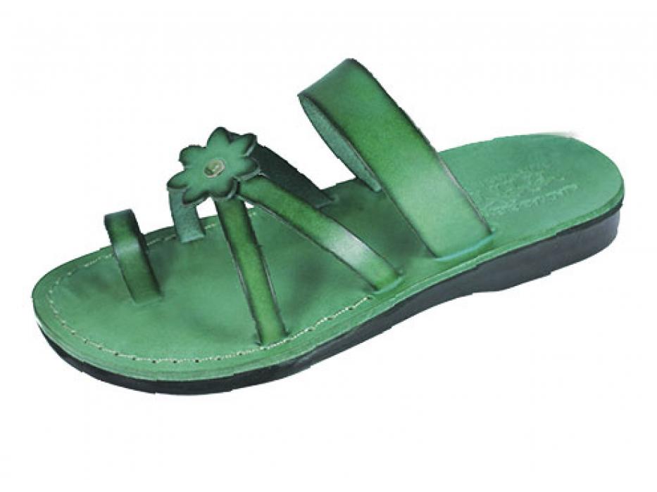Green Flower Toe Strap Israeli Handmade Leather Sandals