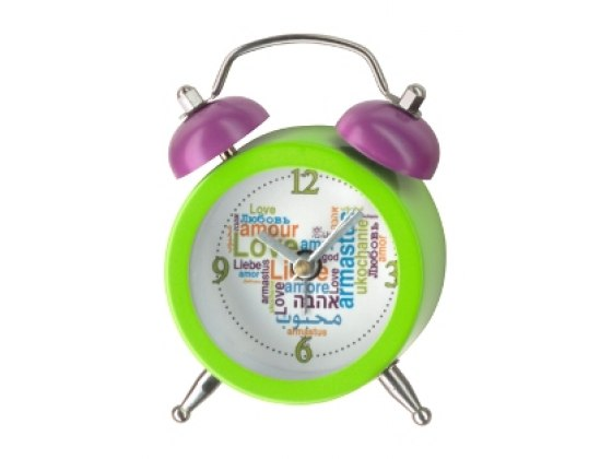Green Mini Alarm Clock with Love in Many Languages