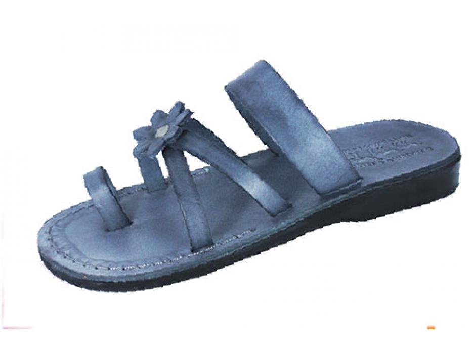 Grey Flower Toe Strap Israeli Handmade Leather Sandals