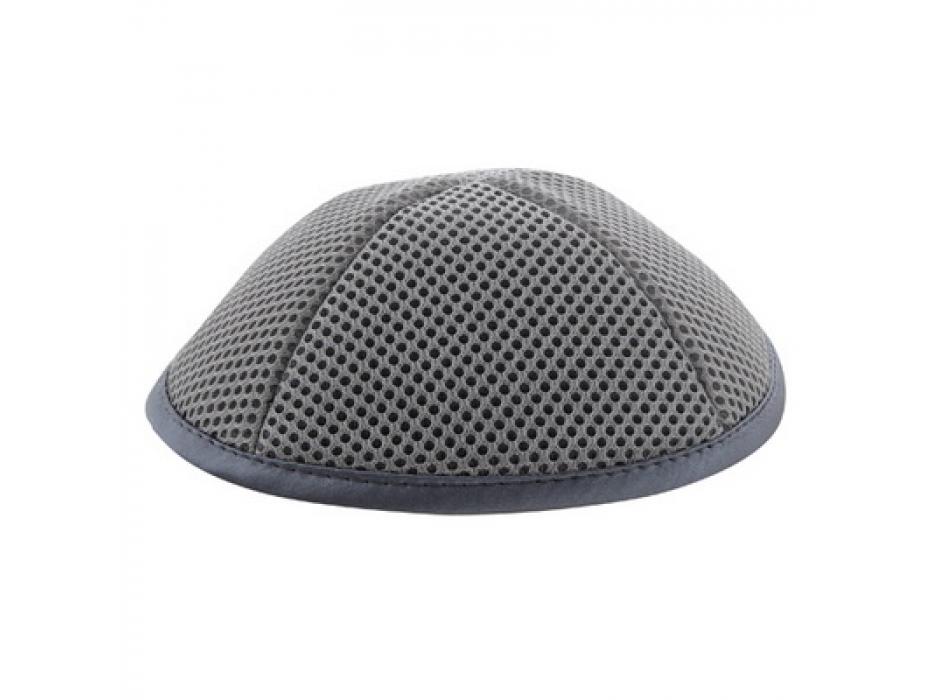 Grey Mesh Kippah with Pin Spot
