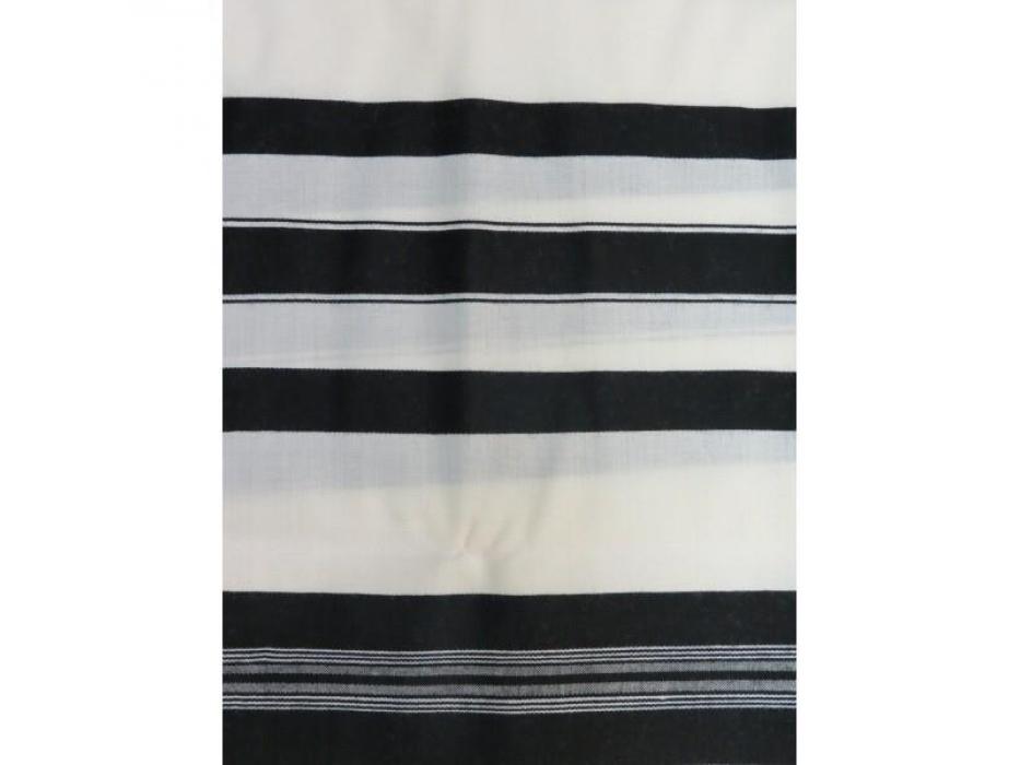 Grooms Black Striped Chatanim Wool Tallit Prayer Shawl