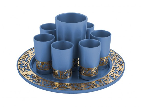 Emanuel Judaica Blue Kiddush Cup Set Pomegranates