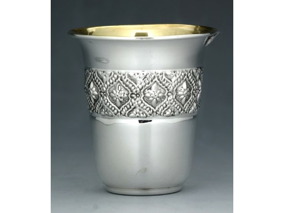 Sterling Silver Kiddush Cup - Embossed Flower Filligree Band - Curved Rim