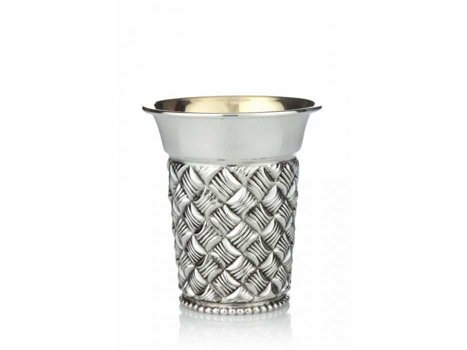 Hadad Sterling Silver Kiddush Cup, Basket Weave, Flat  bottom, Funnel rim