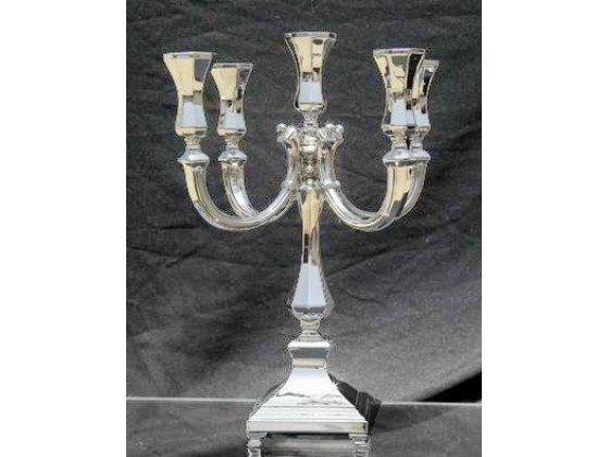 Hadad Sterling Silver Candelabra - 4-branches Simply Elegant, Footed Square Base
