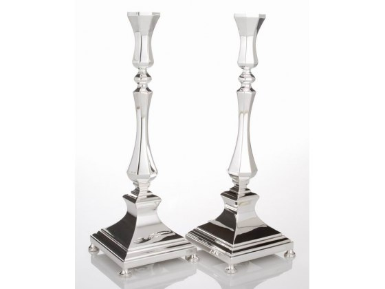 Hadad Sterling Silver Candlesticks - Beveled Curves Design, Footed Square Base