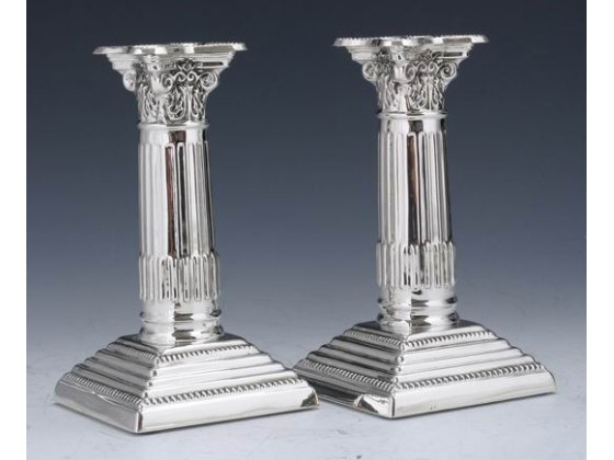 Hadad Sterling Silver Candlesticks - Grapevine Crown, Stacked Square Base