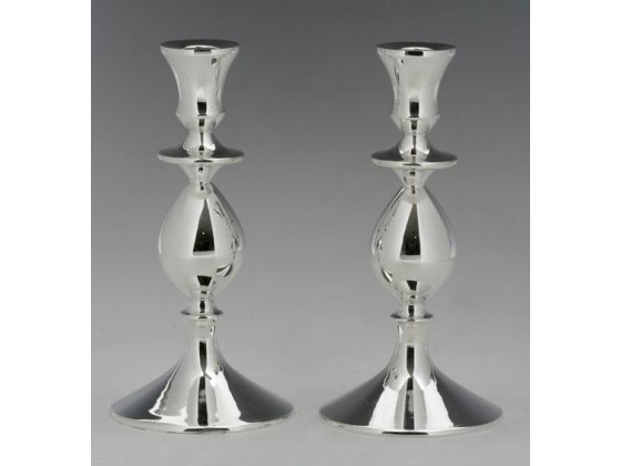 Hadad Sterling Silver Candlesticks - High Shine Finish, Round Base