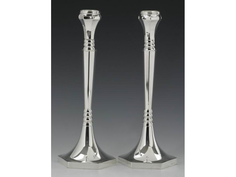 Hadad Sterling Silver Candlesticks - Slim Modern Look on Hexagonal Base