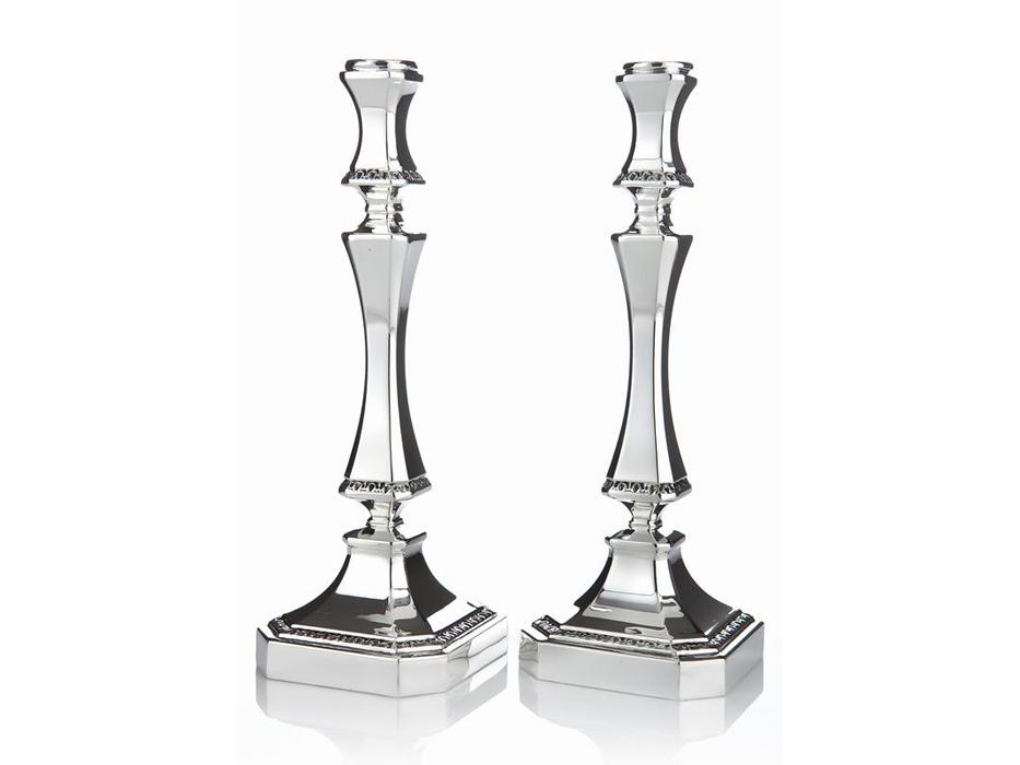 Hadad Sterling Silver Candlesticks - Square Elegance, Angled Corner Square Base