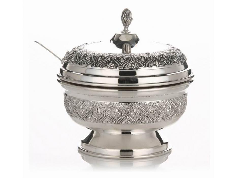 Hadad Sterling Silver Covered Honey Dish - Embossed Flower in Filigree Diamonds