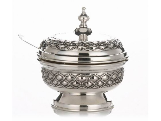 Hadad Sterling Silver Covered Honey Dish - Embossed Rope Lattice