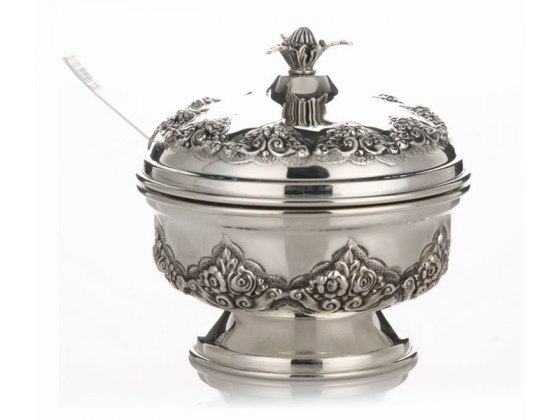 Hadad Sterling Silver Covered Honey Dish - Floral Wave