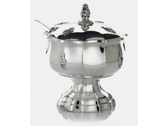 Hadad Sterling Silver Covered Honey Dish - Ribbed with Floral Accents