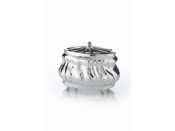 Hadad Sterling Silver Etrog Box - Angled Picket Fence design