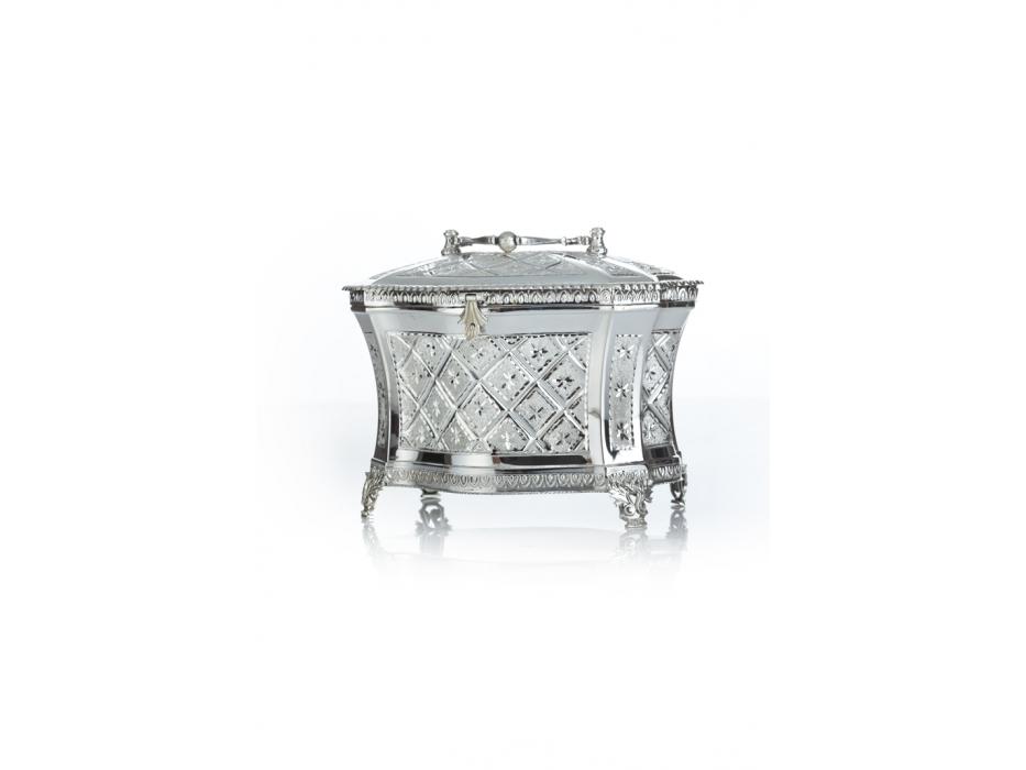 Hadad Sterling Silver Etrog Box - Diamond bordered Embossed Flowers
