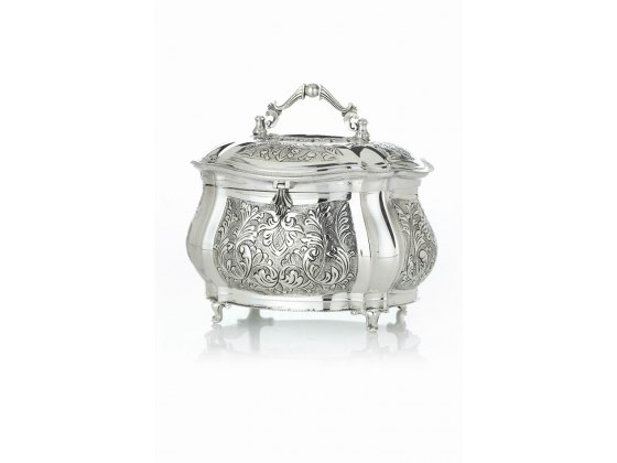 Hadad Sterling Silver Etrog Box - Rounded Toscana Scroll Panels