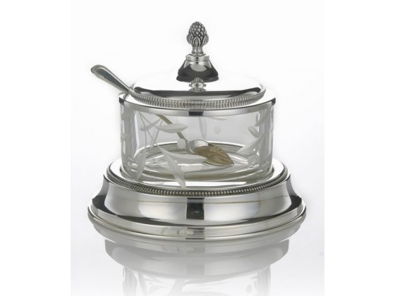 Hadad Sterling Silver & Glass Covered Honey Dish Set - Simply Elegant