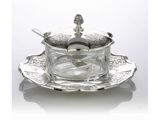 Hadad Sterling Silver & Glass Covered Honey Dish Set - Toscana Panels