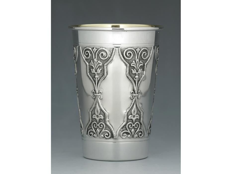 Hadad Sterling Silver Kiddush Cup, Diamond Arabesque, Flat bottom, Curved Rim
