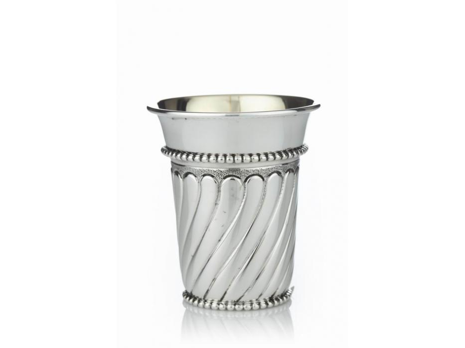 Hadad Sterling Silver Kiddush Cup, Embossed Swirls Pearl Bead Trim,  Curved Rim