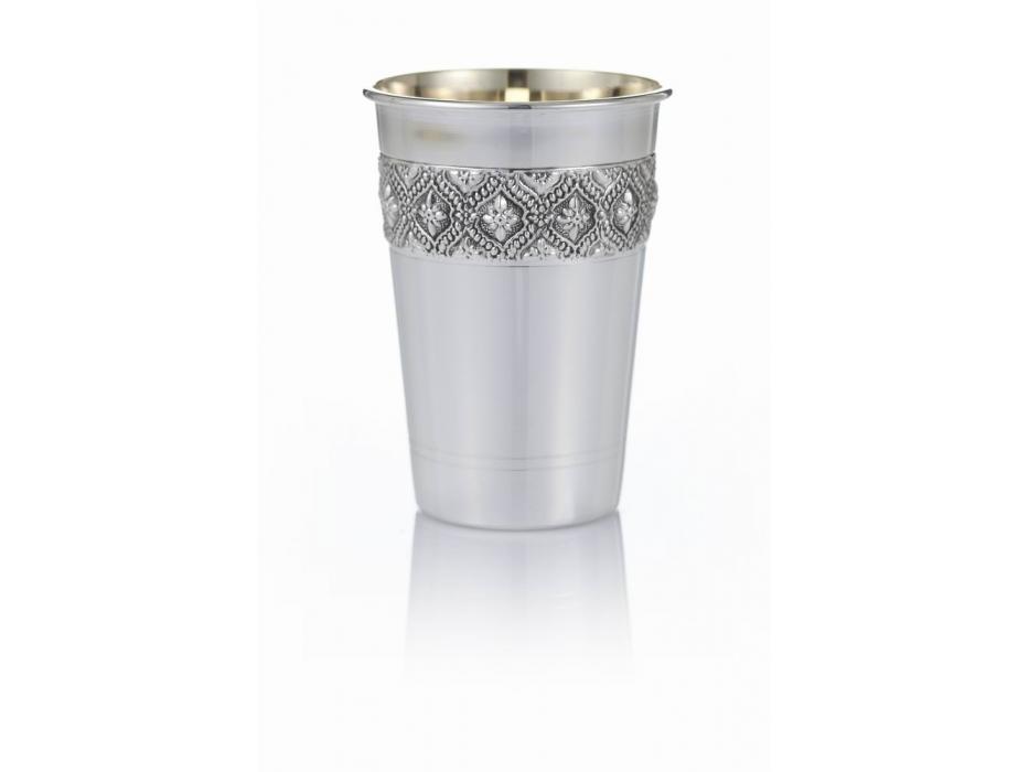Hadad Sterling Silver Kiddush Cup, Flat Bottom, Floral & Filigree Diamond