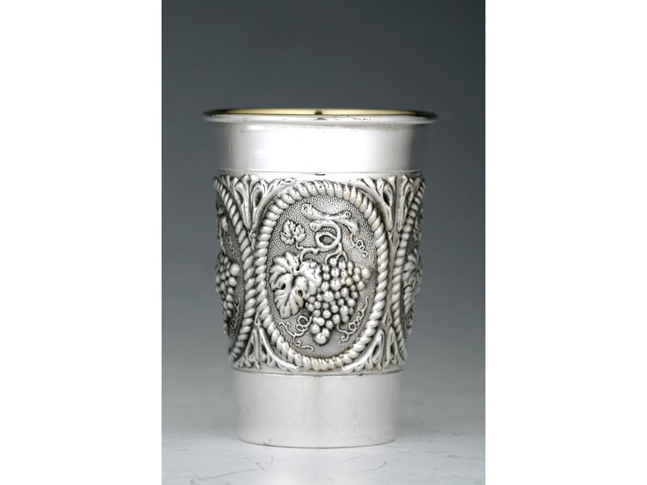 Hadad Sterling Silver Kiddush Cup Grapes in braid frame, Flat bottom, Curved Rim