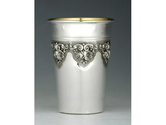 Sterling Silver Kiddush Cup - Inlaid Floral Design - Flat bottom, Curved Rim