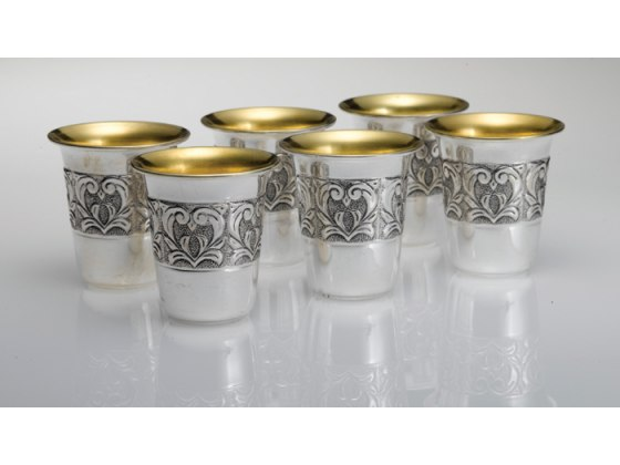 Hadad Sterling Silver Kiddush Cup Set - 6 Toscana Floral band liquor cups