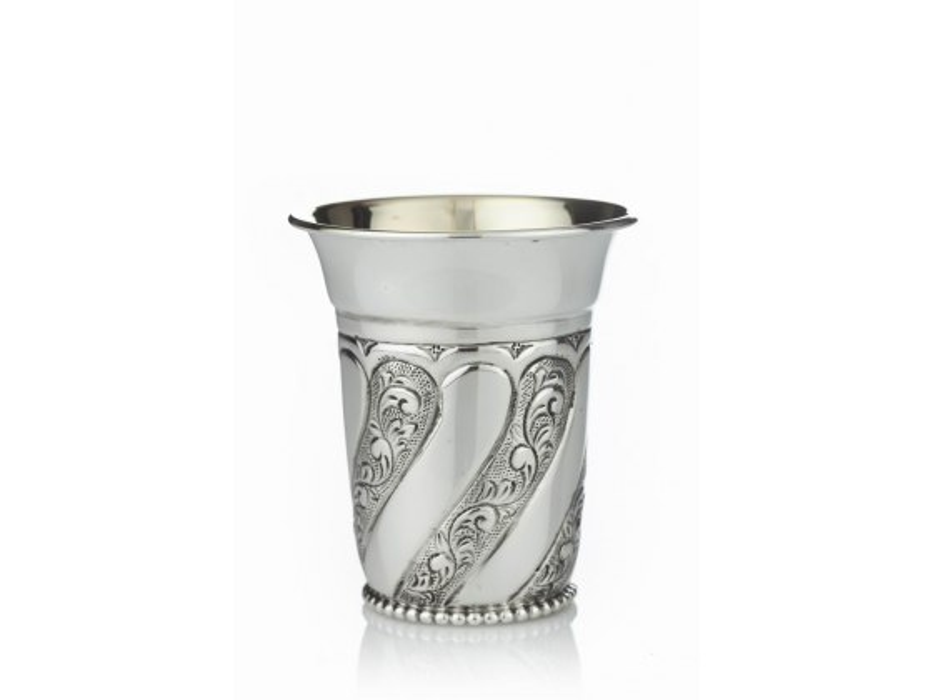 Hadad Sterling Silver Kiddush Cup - Tuscana Floral Swirl Panels