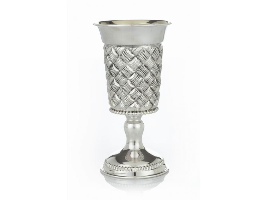 Hadad Sterling Silver Kiddush Goblet - Basket Weave Pattern - Funnel Rim