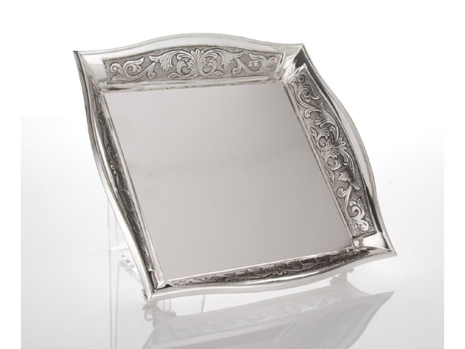 Hadad Sterling Silver Matzah Tray - Toscana Floral Trim