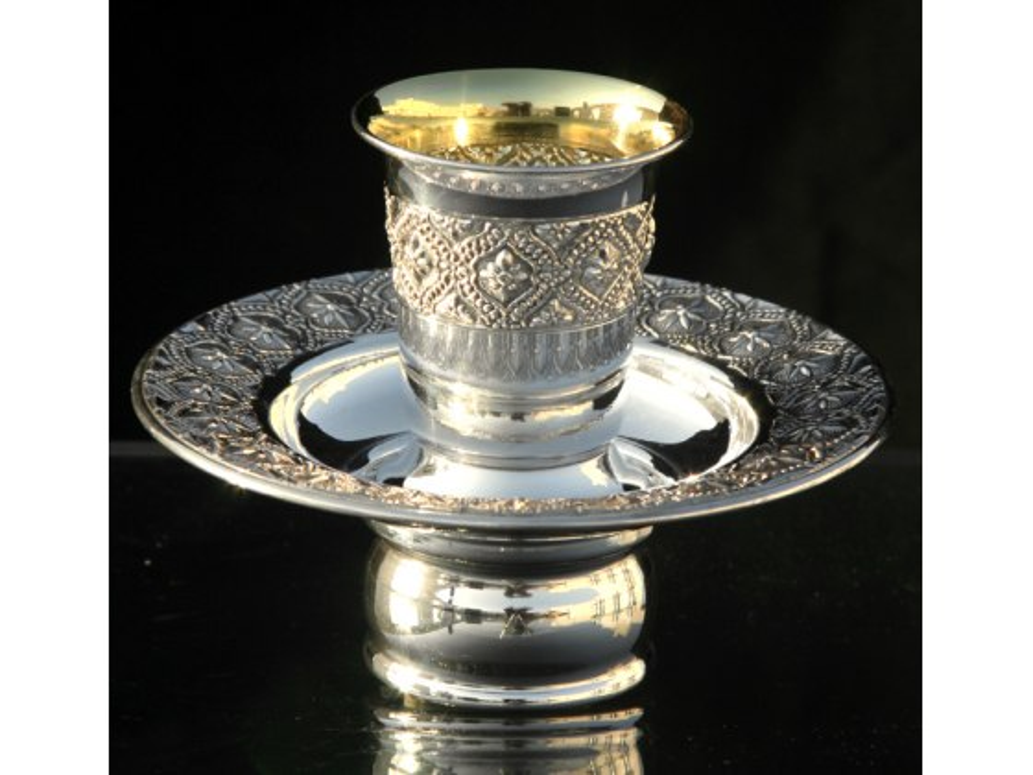 Hadad Sterling Silver Mayim Achronim Set -  Flowers in Filigree Diamonds
