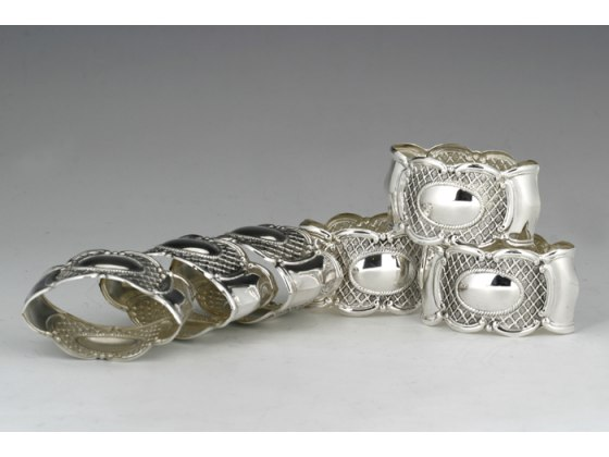 Hadad Sterling Silver Napkin Rings Set of 6 - Cameo Lattice Pattern