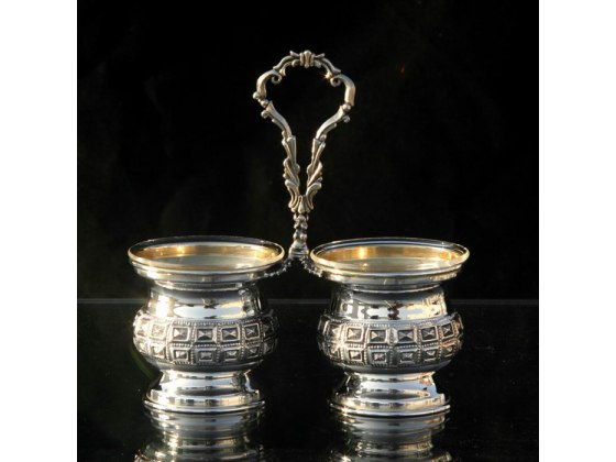 Hadad Sterling Silver Salt & Pepper Server - Embossed Boxes Design