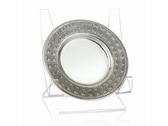 Hadad Sterling Silver Saucer - Embossed Boxes