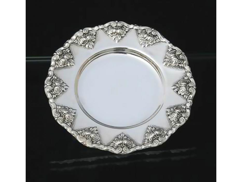 Hadad Sterling Silver Saucer - Rosette Trim