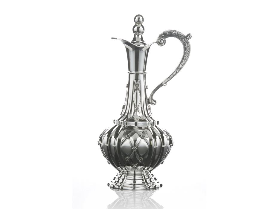 Hadad Sterling Silver Wine Decanter with Handle - Flower Lattice design
