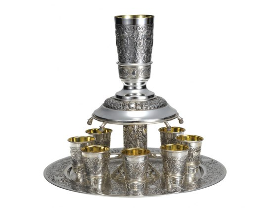 Hadad Sterling Silver Wine Fountain - 8 cups - Toscana Floral pattern