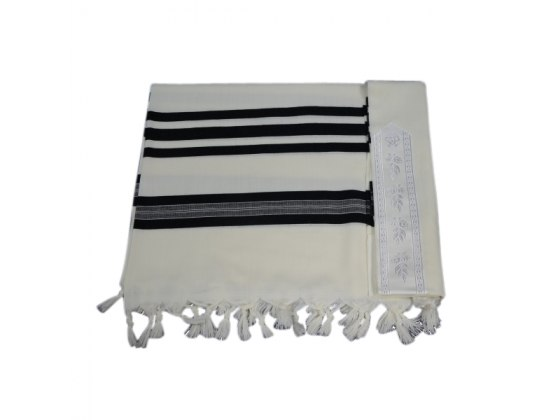 Hamefoar Wool with Black Stripes, Tallit