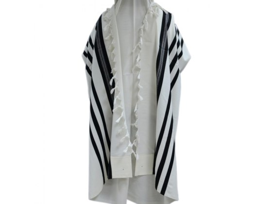 Hamefoar (Pe'er Kal) Wool with Black Stripes, Tallit