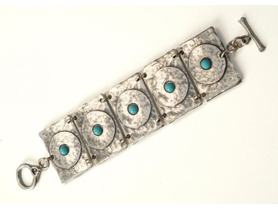 Hammered Silver Plate Bracelet with Swarovski crystals - Anava Jewelry