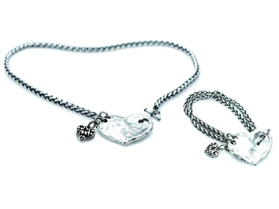 Hammered Silver Plate Heart Necklace & Bracelet Set - Anava Jewelry