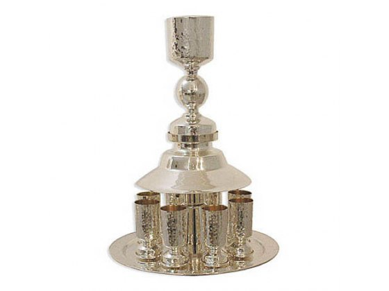 Hammered Sterling Silver Kiddush Fountain and 8  Cups with Ball Decoration