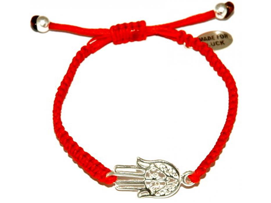Red String Kabbalah Bracelet , Sterling Silver Hamsa
