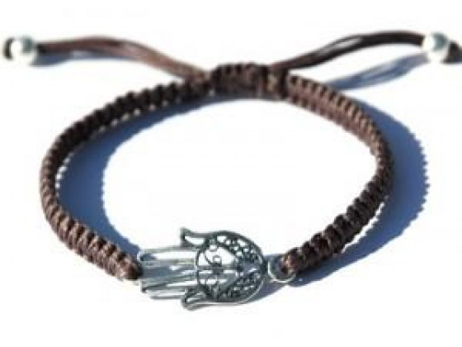 Adjustable Woven Khaki String Bracelet, Kabbalah jewlery