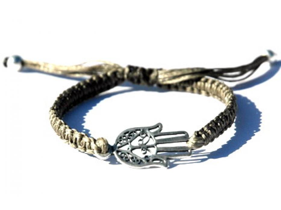 Grey Kabbalah Bracelet, Silver amsa
