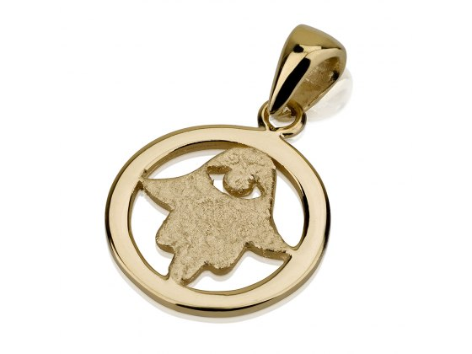 14K Gold Circle with Hamsa Hand and Evil eye, Hamsa Jewelry