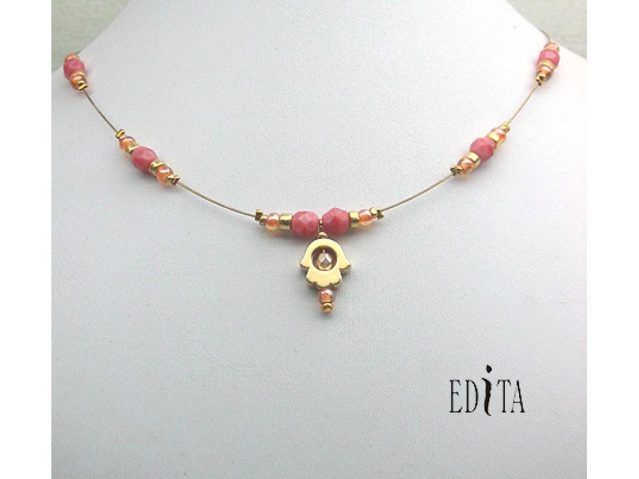 Edita - Golden Hamsa - Coral- Handcrafted Israeli Neckla