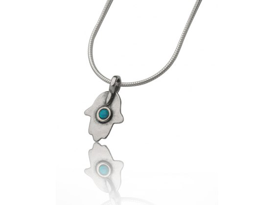 Hamsa Necklace Sterling Silver and Opal Modern Design
